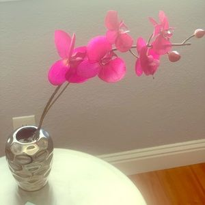 Decorative vase with faux orchid